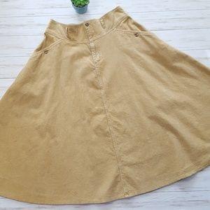"Vintage gold corduroy circle maxi skirt waist 33"""